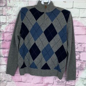 J. Crew men's argyle 100% lambs wool sweater XL